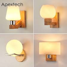 apextech wooden wall lamp modern nordic style e26 e27 bulb wall lights frosted glass shade wood bedside night light for home