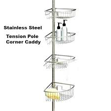 stainless steel shower rust proof tension over door caddy australia bathroom co stainless steel tension pole shower caddy corner australia