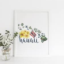 hawaiian islands art map of hawaii