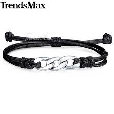 adjustable lover s gifts bracelets for women men s leather bracelet stainless steel cable curb chain kdlbm01b