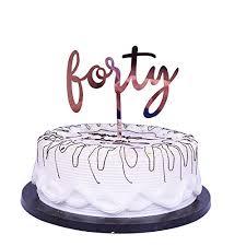 Yuinyo Happy Birthday Cake Topper Acrylic Rose Gold 40th
