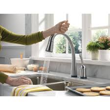 Kitchen Faucets For Delta Faucet 980t Dst Pilar Polished Chrome Pullout Spray Kitchen