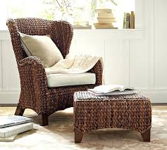 Pottery Barn Rattan Chair Seagrass Wingback Honey33