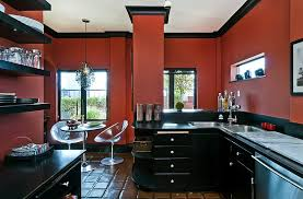 View In Gallery Eclectic Kitchen Goes Bold With Just Black And Red