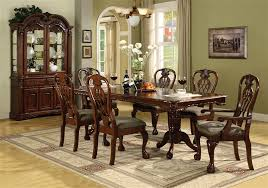 brussels plete dining set china included in cherry finish by crown mark 2470c
