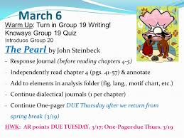 the pearl by john steinbeck verb forms active passive   6 the pearl by john steinbeck warm up turn in group 19 writing