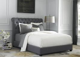 Dark Gray Upholstered King Sleigh Bed