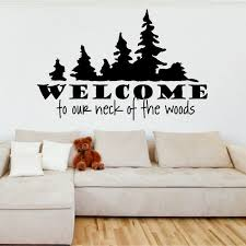 vinyl wall art welcome to our neck of the woods by vinylartstudio