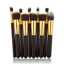 10pcs set kwasten makeup brushes set kit kabuki cosmetics loose powder blusher nasal shadow liner