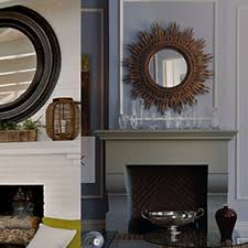 a convex mirror for a fireplace mantle