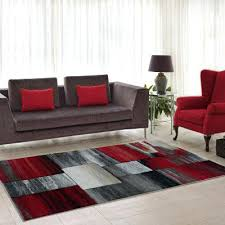 currant red grey area rug abstract color on warm burnt orange brown cream cosy and
