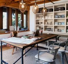 Chic office design Rectangle Industrial Home Office Designs For Simple And Professional Look Industrial Chic Office Decor Interior Homescapes Industrial Home Office Designs For Simple And Professional Look