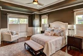 3 tags Traditional Master Bedroom with Skyline furniture nail button linen  upholstered headboard ii, Wainscoting, Hardwood