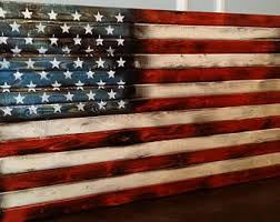 wooden us flag wall art