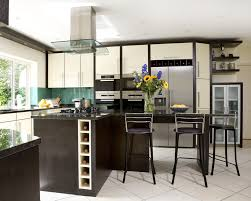 Modern minimalist kitchen island in black with a vertical wine rack three  units of modern barstools