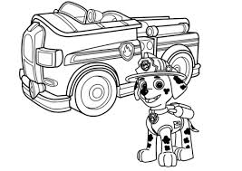 fire truck coloring page. Interesting Page Paw Patrol Marshall With Fire Truck Coloring Page Intended Coloring Page U