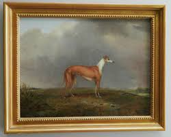 beautiful antique oil painting of a greyhound dog find it at the antique pooch at ruby lane