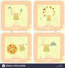 Vintage Set Of Menu Card Designs With Chefs In Retro Style