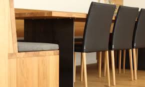 Eckbank Aus Holz Mit Leder, Tisch Aus Eiche Mit Stahl