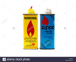 cans of lighter fluid ronsonol and zippo stock image