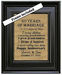 framed 60th wedding anniversary 60th anniversary gifts 60th wedding anniversary gifts burlap art print pas diamond anniversary gift anniversary