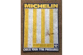 A 1970s Garage Printed Tinplate Michelin Tyre Pressure Chart