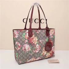 knockoff gucci reversible gg blooms leather tote