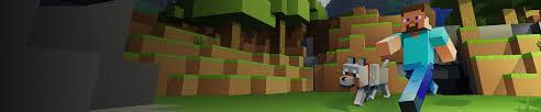 minecraft game art ilration steve and dog walking through daytime scene