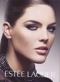 beautiful brunette american supermodel hilary rhoda modeling for estee lauder cosmetics advers and estee lauder makeup