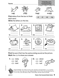Consonant blends in phonics section. Phonics Final Consonants Blends Review Worksheet For 1st 2nd Grade Lesson Planet