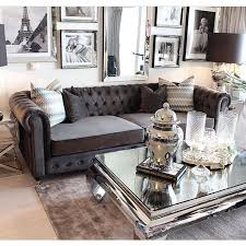 fabulous mirrored furniture. Beautiful Beige Living Room With Grey Sofa And Mirrored Tables Inside Furniture Renovation Fabulous
