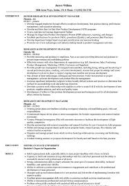 Research Development Manager Resume Samples Velvet Jobs