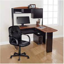 large l shaped office desk. Modern L-Shaped Office Computer Workstation Organizer Corner Desk With Hutch And Leather Back Support Large L Shaped