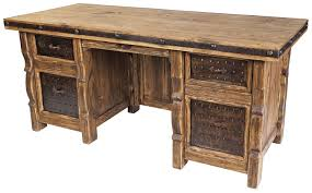 rustic wood office desk. Fine Wood Rustic Wood Executive Office Desk With Iron Panel Insets With C