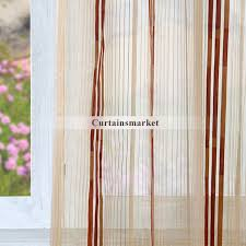 living room or bedroom red stripe sheer curtains