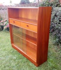 retro nathan wood book case storage glass sliding doors