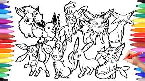Pokemon Coloring Pages Eeveeutions Together Coloring Pages