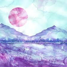watercolor mountain landscape blue purple mountains peak forest silhouette reflection in