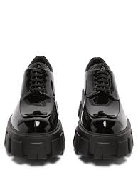 prada exaggerated sole patent leather derby shoes