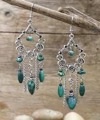 teal crystal silvertone queen of hearts chandelier earrings