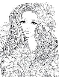Adult Coloring Page Lady Flowers Digital Coloring Page Printable 85