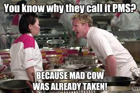 You know why they call it PMS? BECAUSE MAD COW WAS ALREADY TAKEN ... via Relatably.com