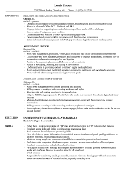 Assignment Editor Resume Samples Velvet Jobs