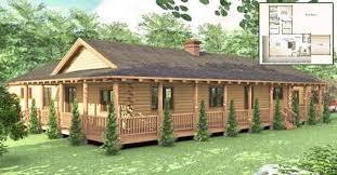 one story log house with wrap around
