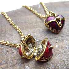 red and gold heart locket necklace