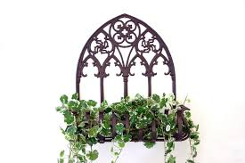 image of wall hanging wrought iron planters