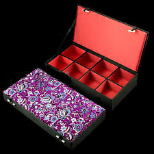 Decorative Display Boxes Silk Brocade Long Watch Box 100 Grid Wood Jewelry Packing Box 71