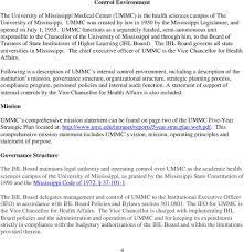 University Of Mississippi Medical Center Internal Control