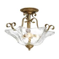sworth collection 3 light vintage gold semi flush mount with clear glass