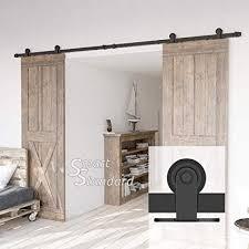10ft heavy duty sy double door sliding barn door hardware kit super smoothly and quietly